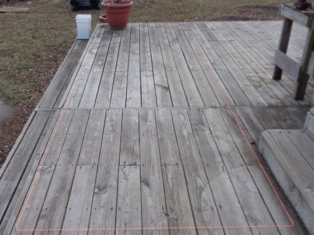 Front and Back Wall Layout dimensions on the deck in string